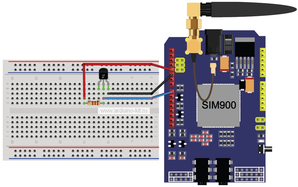Схема подключения модуля GSM/GPRS shield и датчика LM335. Шилд SIM900 установлен на Arduino UNO